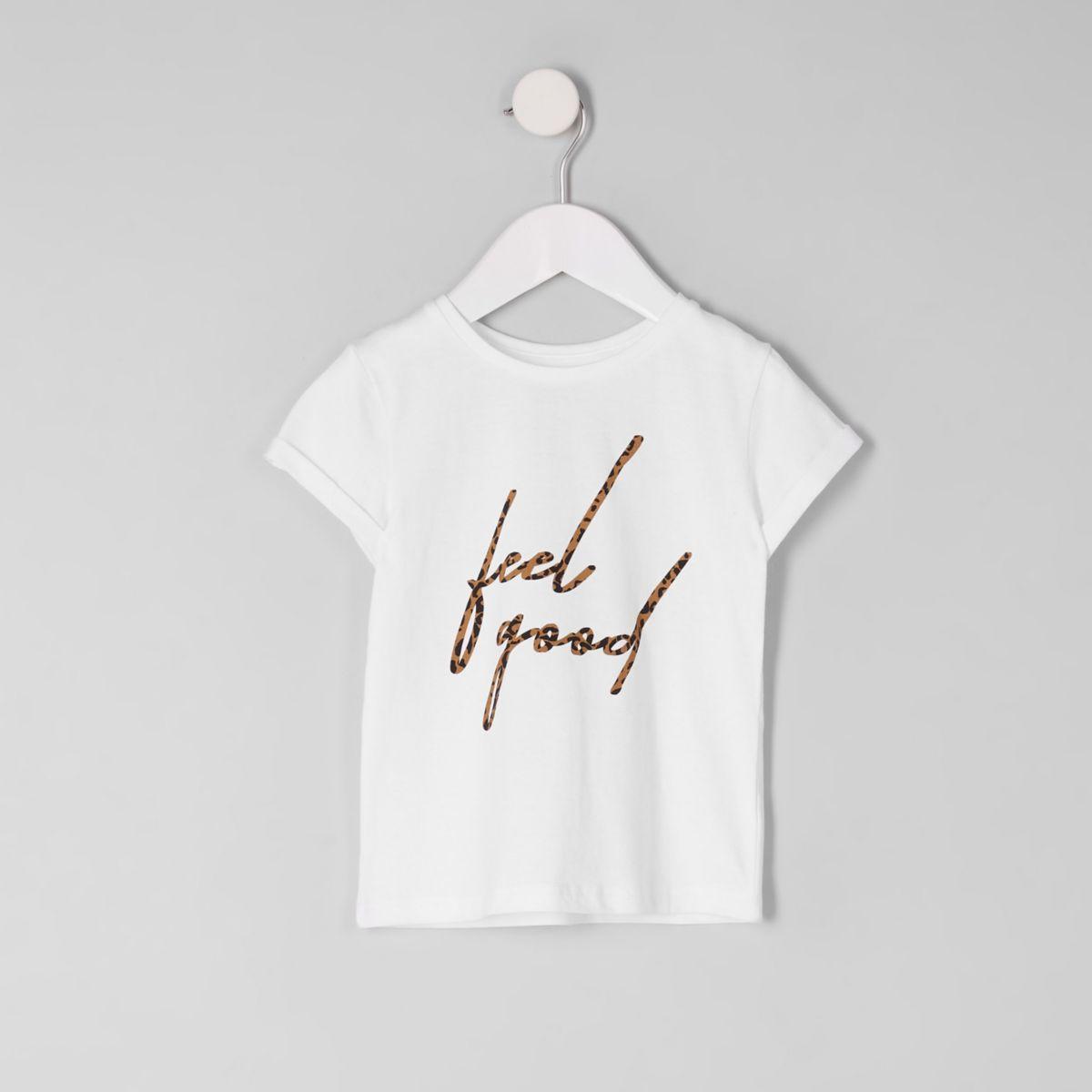Mini girls white 'feel good' leopard T-shirt
