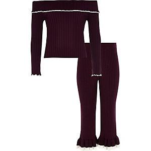 Girls dark red knit ribbed bardot top outfit