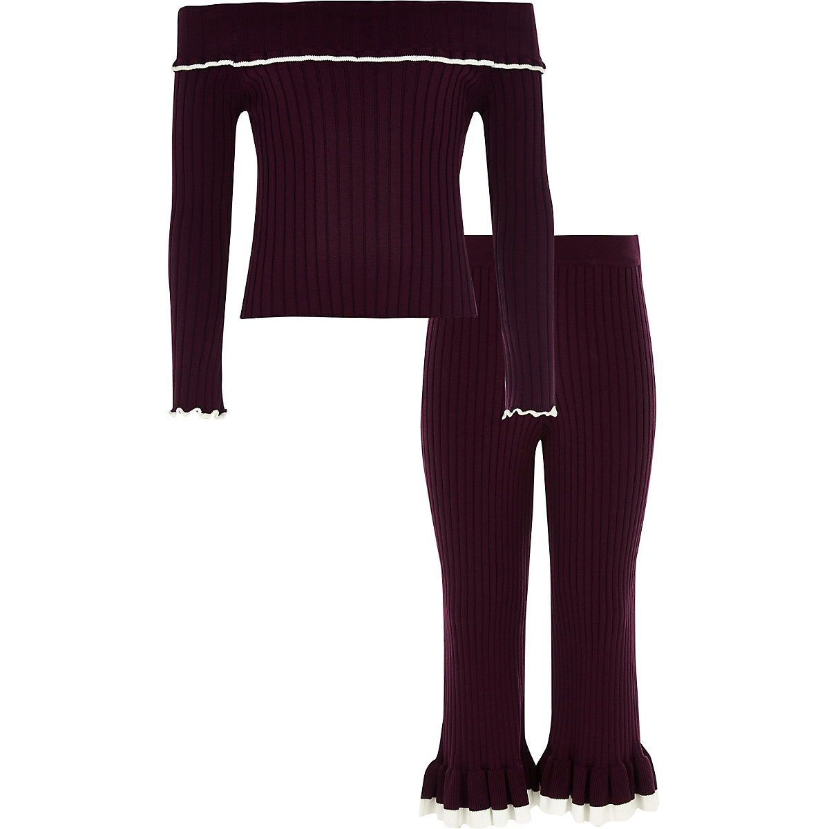 Girls dark red knit ribbed bardot top outfit