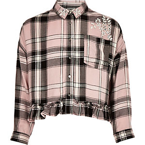 Girls pink diamante embellished check shirt