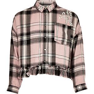 Chemise à carreaux rose ornée de strass pour fille