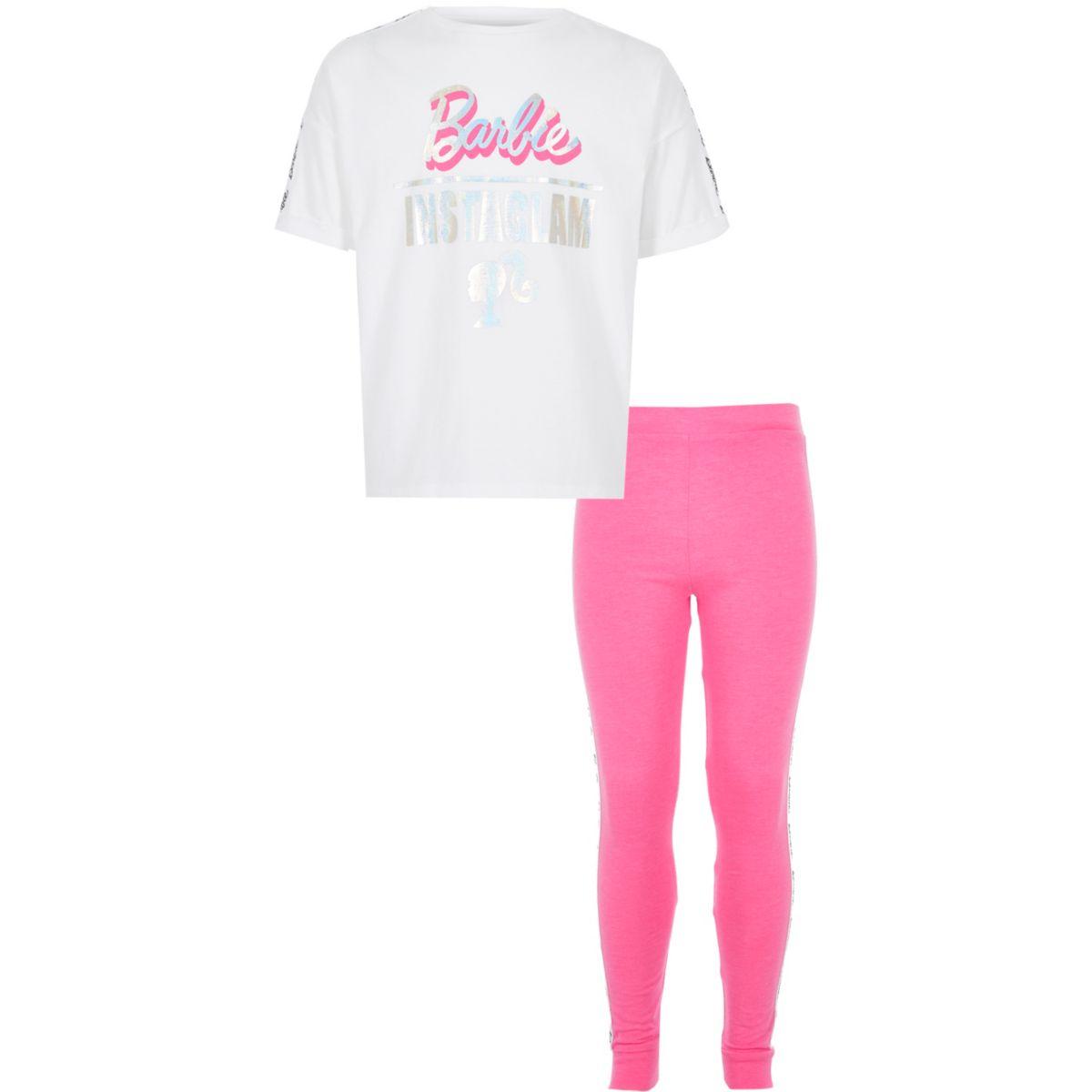 Girls pink Barbie pajama set