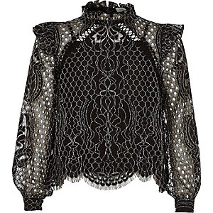Girls black lace high neck long sleeve top