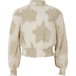 Girls cream jacquard high neck top