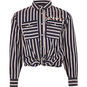 Girls blue stripe sequin tie front shirt