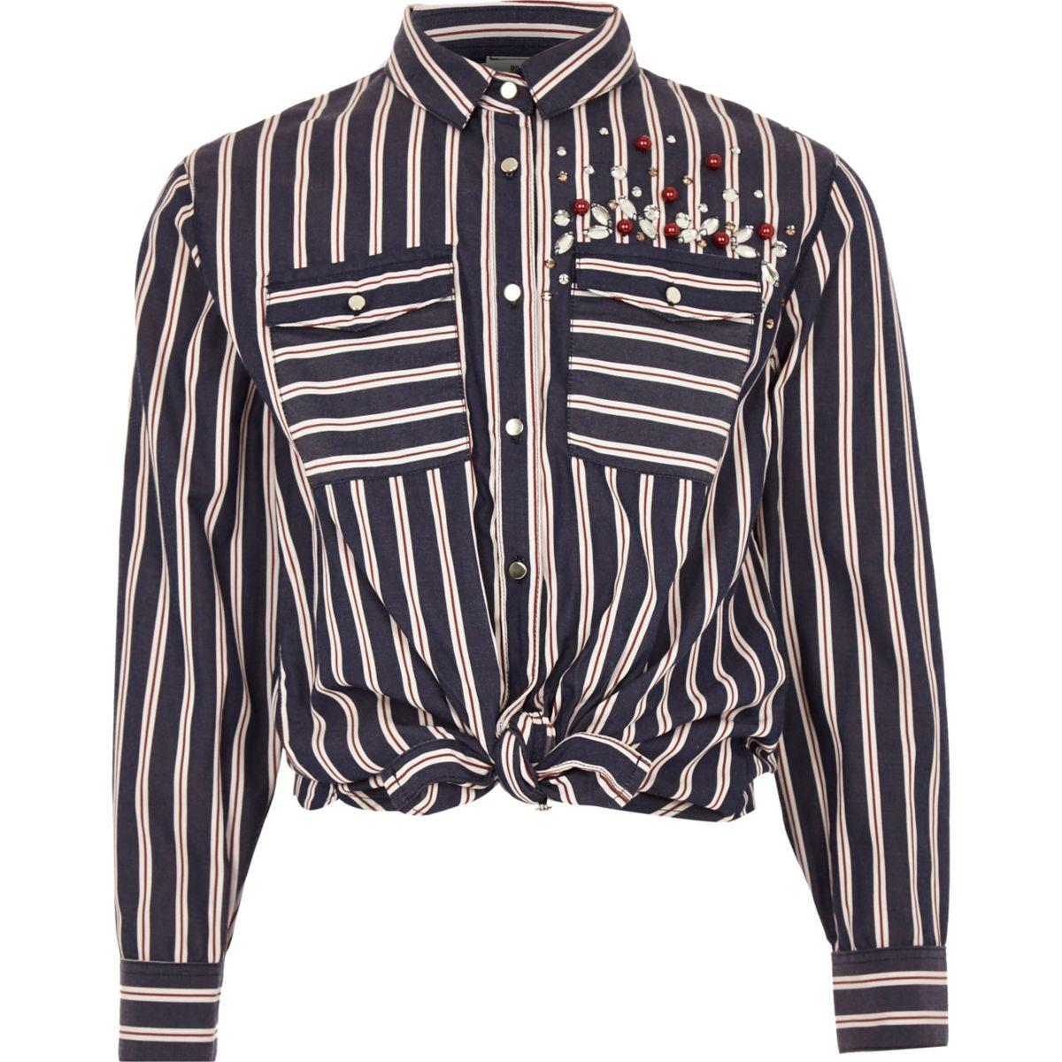 Girls blue stripe sequin tie front shirt