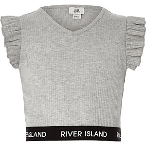 Girls grey frill sleeve V neck crop top