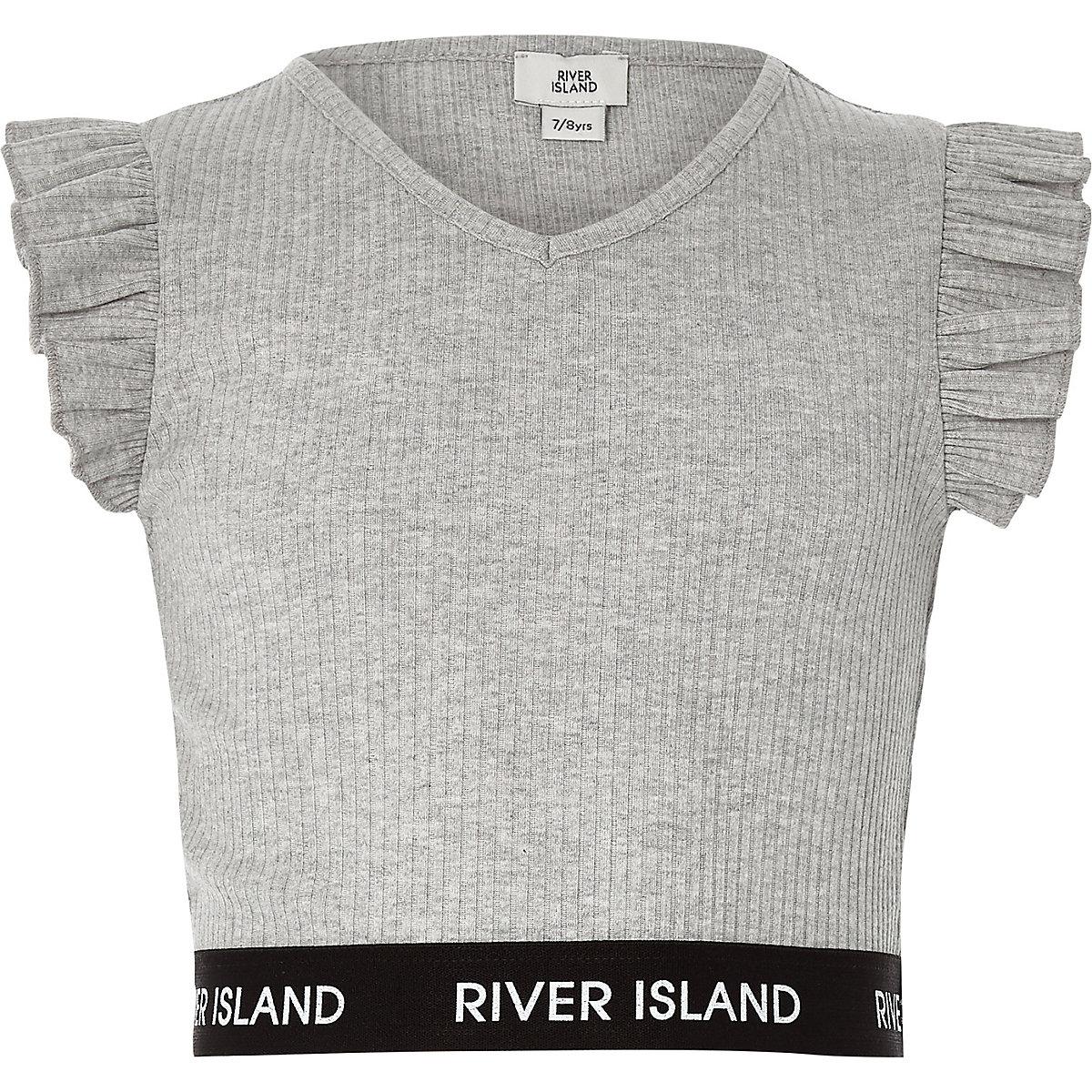 Girls grey frill sleeve V neck crop top