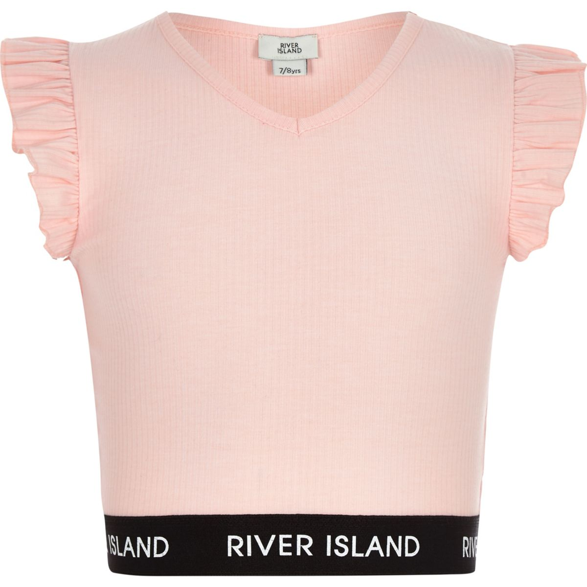 Girls pink frill sleeveless crop top