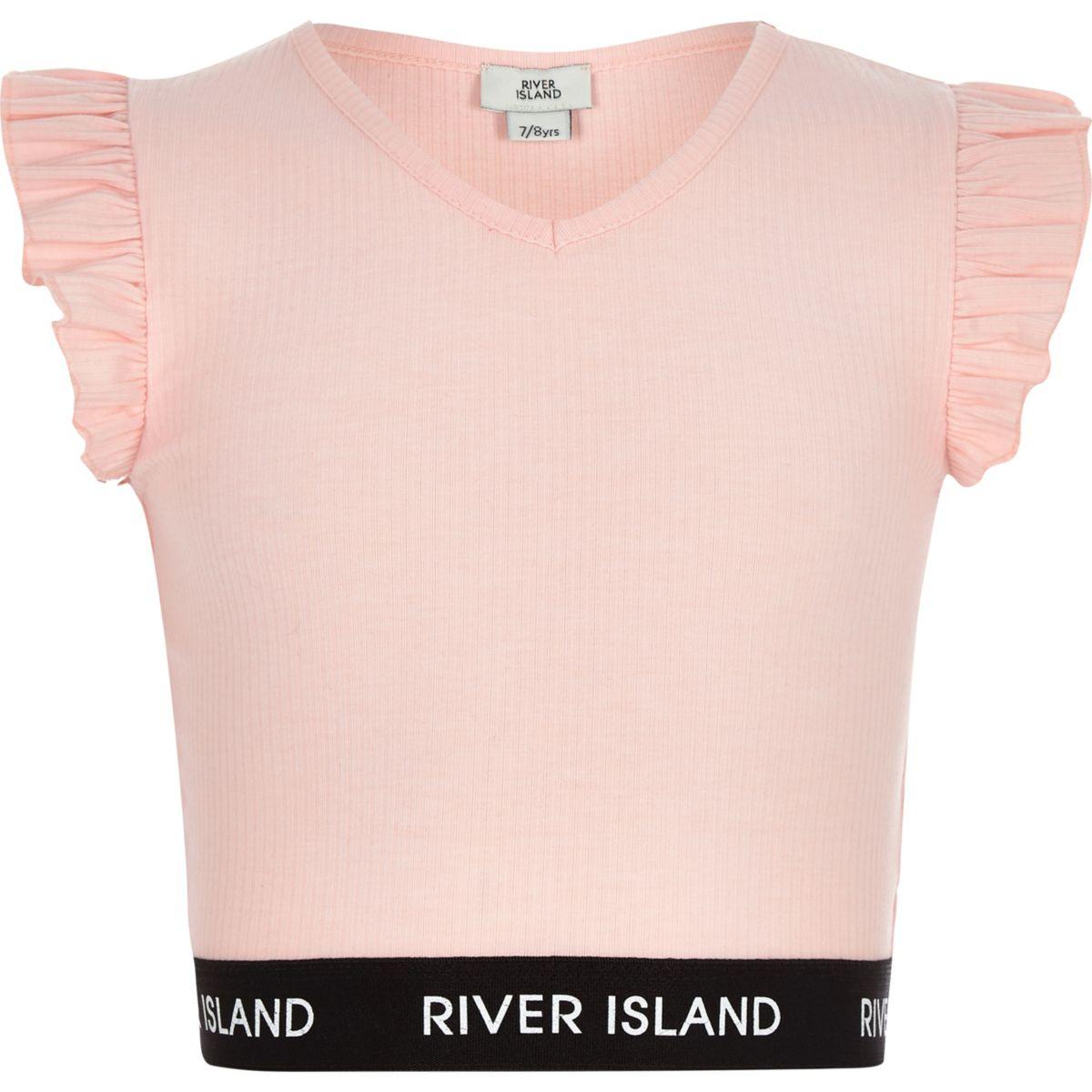 Girls pink frill sleeveless crop top