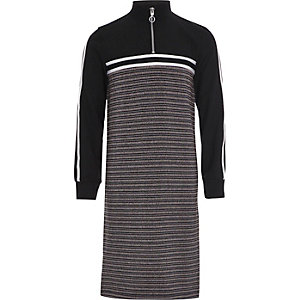 Girls black stripe funnel neck midi dress