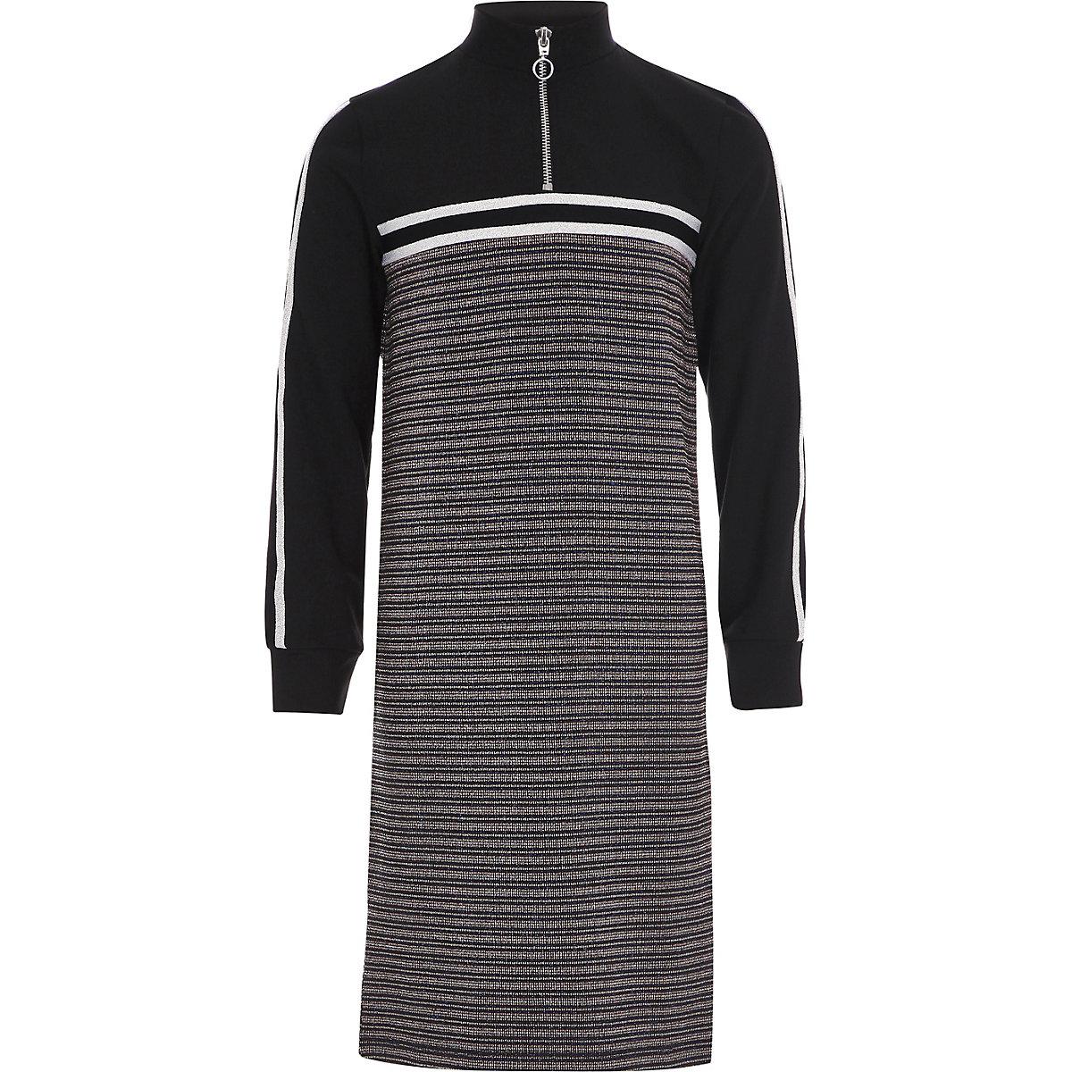 Girls black stripe funnel neck midi dress