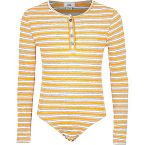 Girls yellow stripe bodysuit