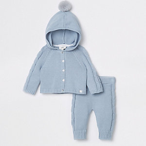 Baby blue knit cardigan and trouser outfit