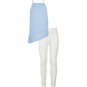 Outfit met blauwe camitop en legging voor meisjes