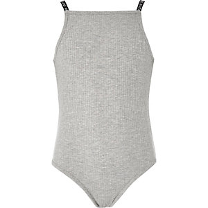 Girls grey ribbed body