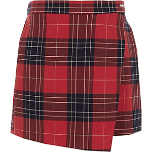 Girls red tartan skort