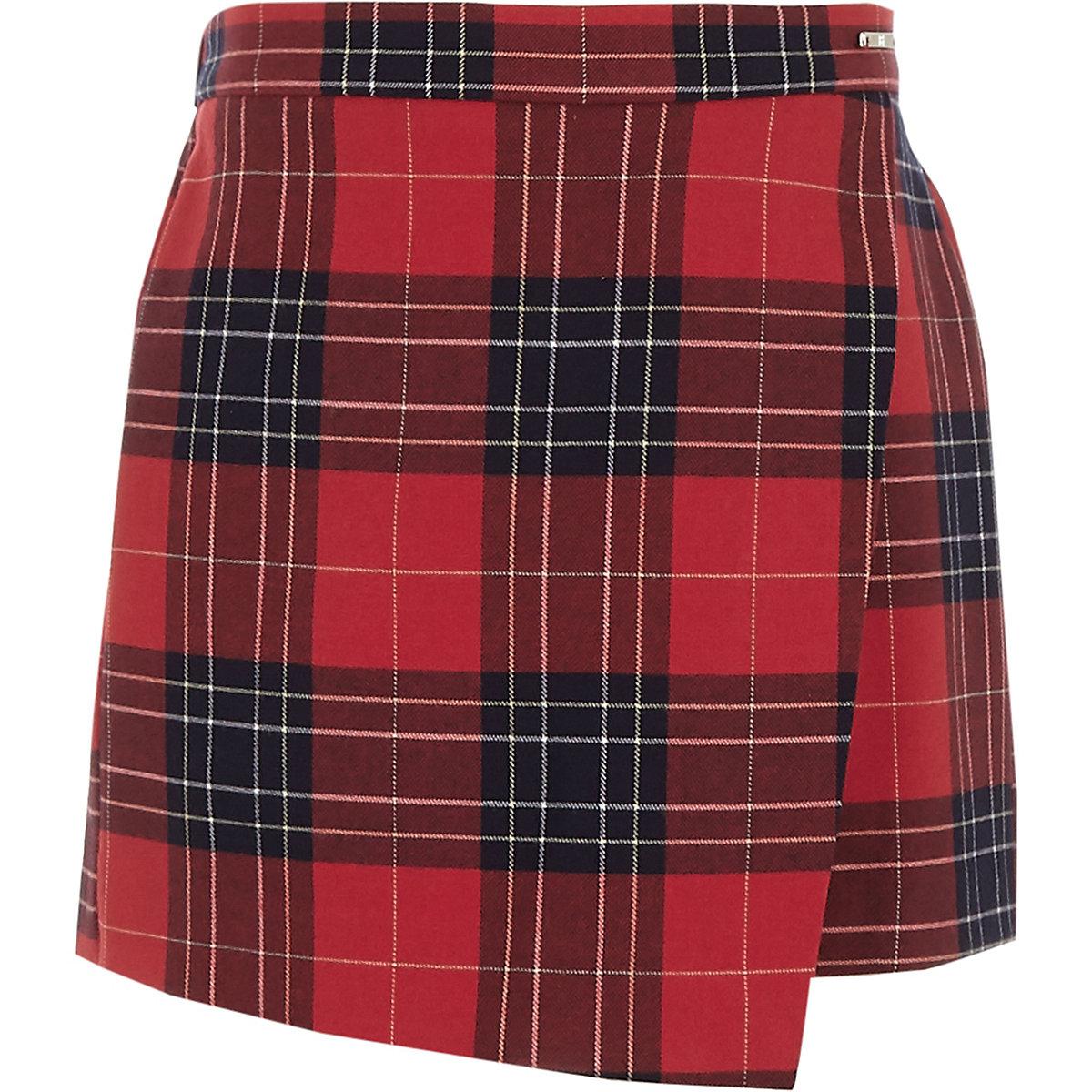 Girls red plaid skort