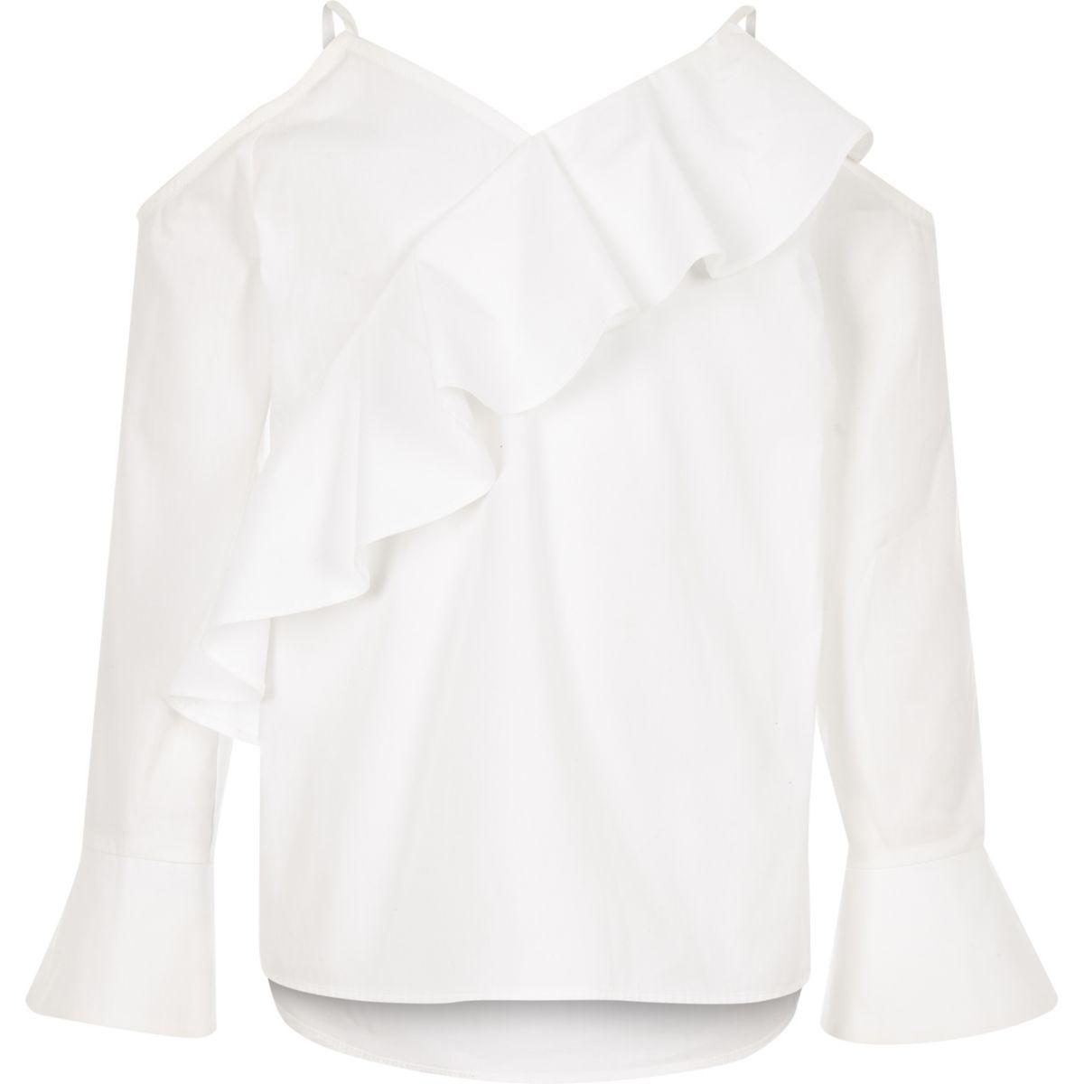 Girls white cold shoulder frill top