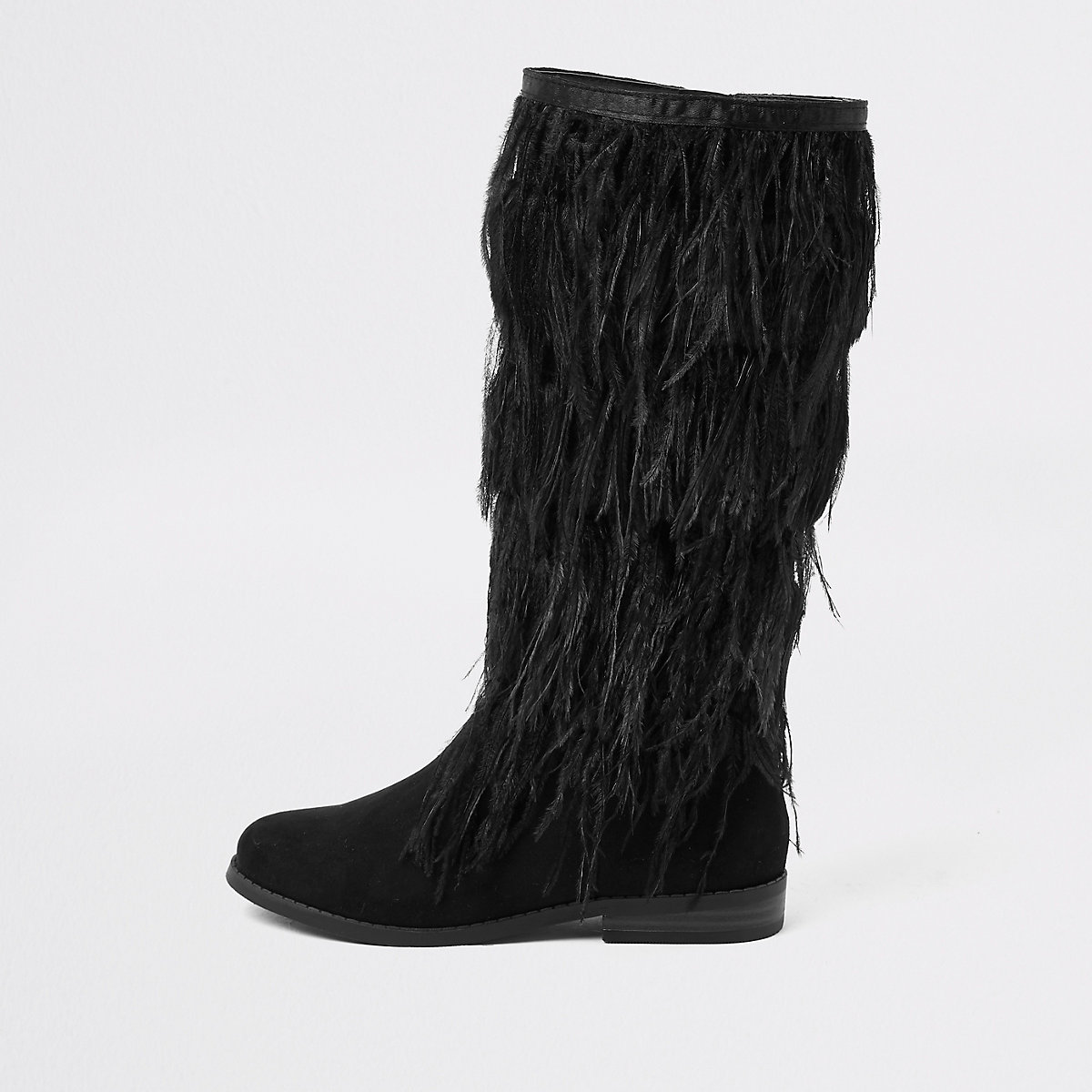 Girls black feather knee high boots