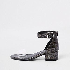 Sandales motif léopard à talon carré en perspex pour fille