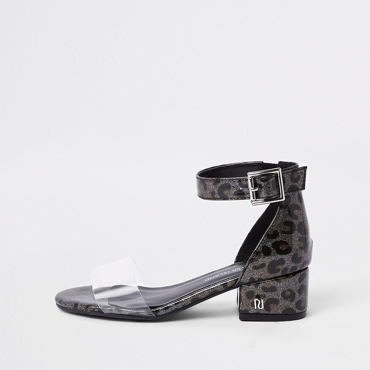 Girls leopard perspex block heel sandals