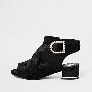 Bottines ouvertes en velours noires avec boucle ornée de perles fille