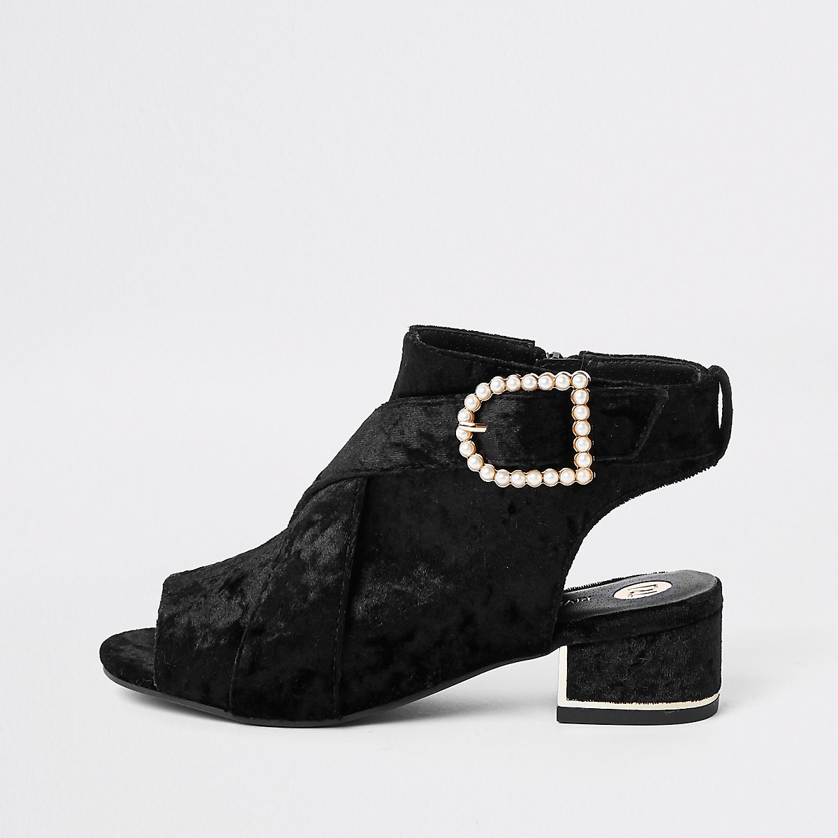 Girls black velvet pearl buckle shoe boots