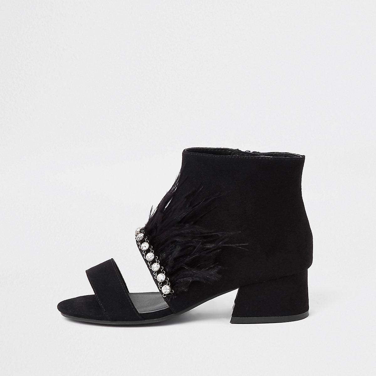 Girls black rhinestone trim feather shoe boots