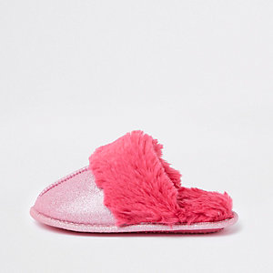 Girls pink glitter faux fur trim slippers