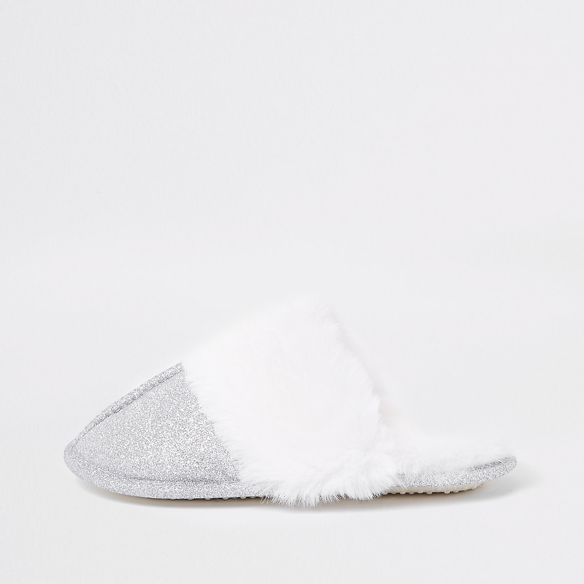 Girls sliver glitter faux fur trim slippers
