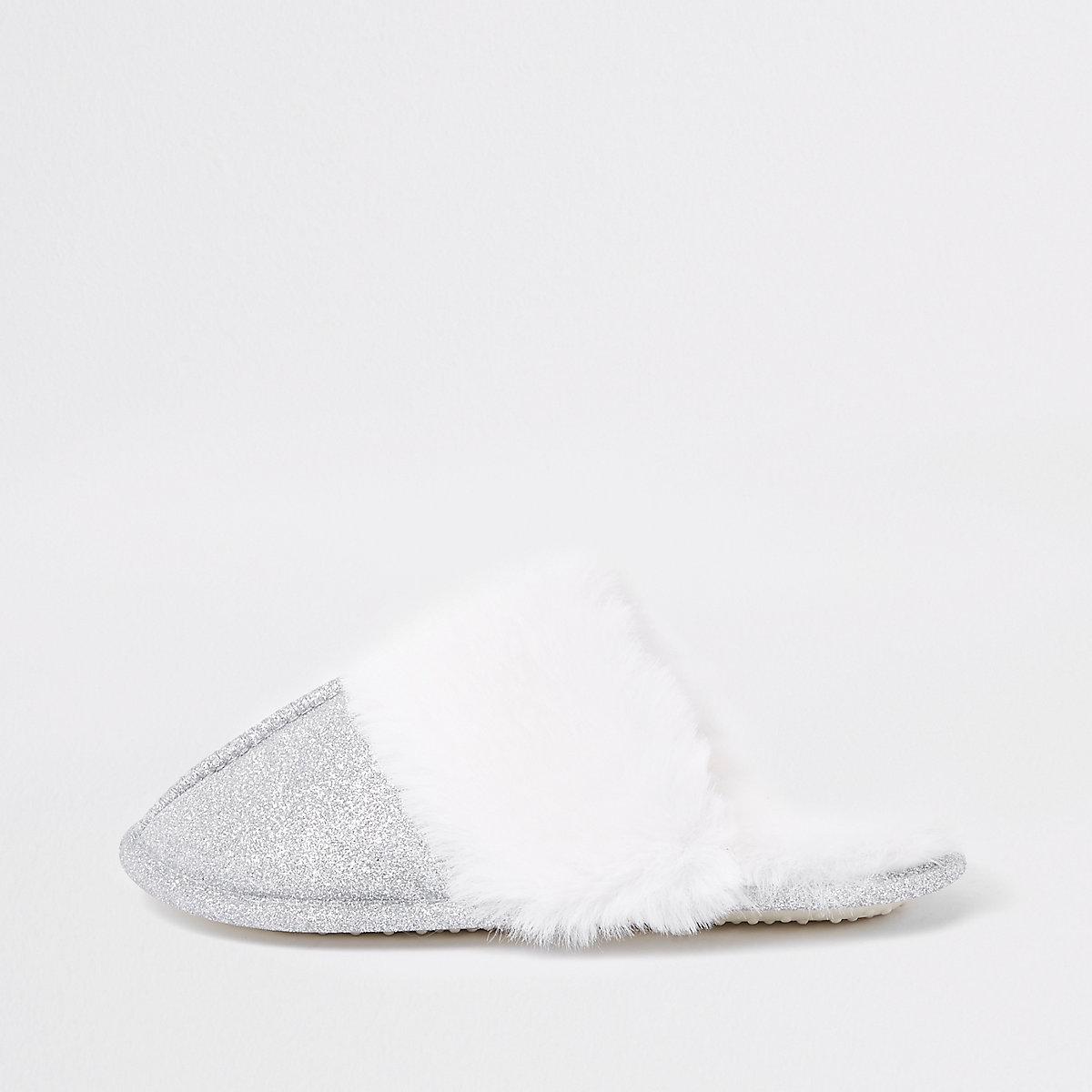 Girls sliver glitter faux fur trim slippers