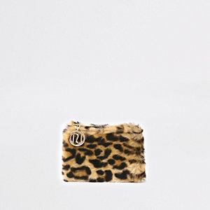Porte-monnaie à fausse fourrure imprimé léopard marron pour fille