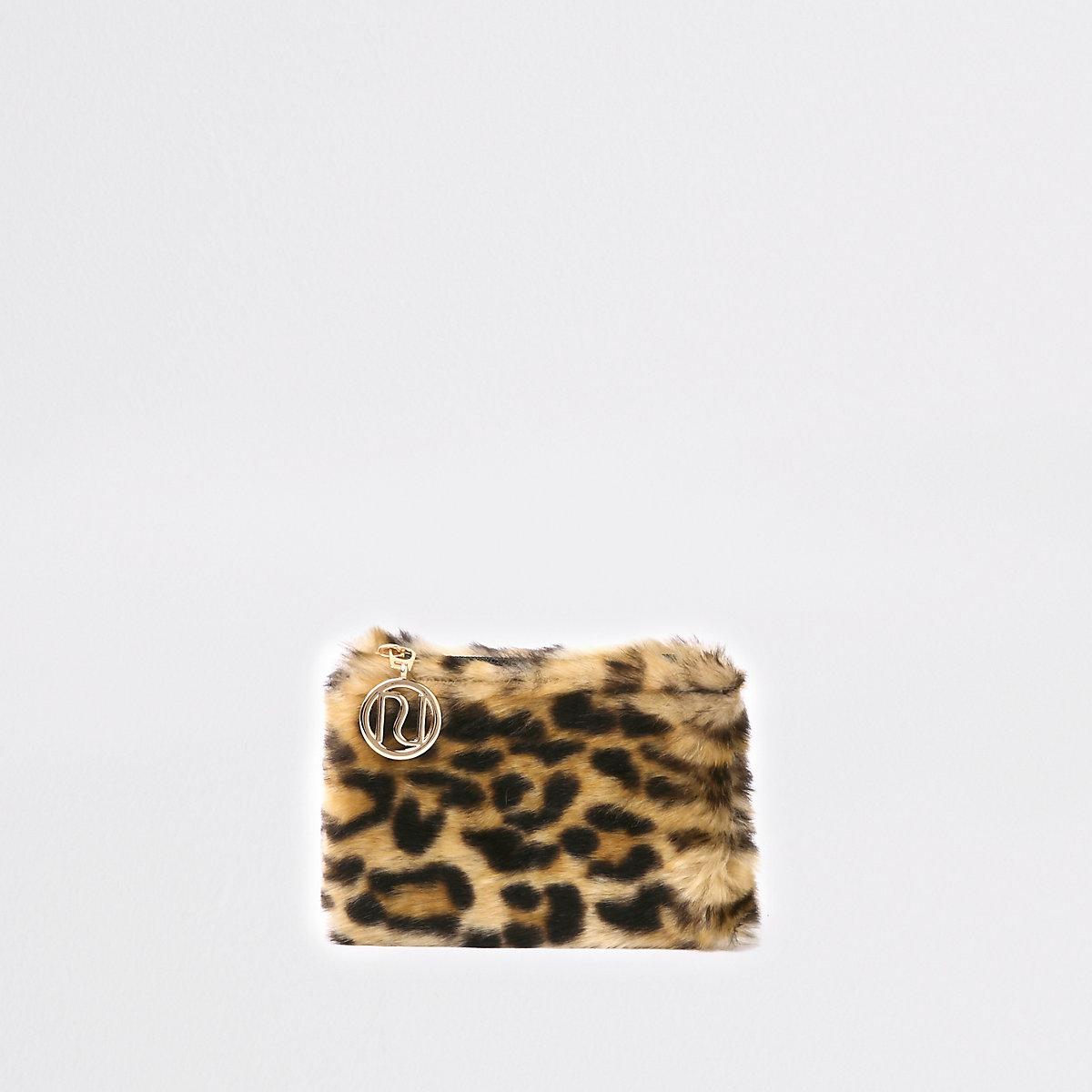 Girls brown leopard print faux fur coin purse
