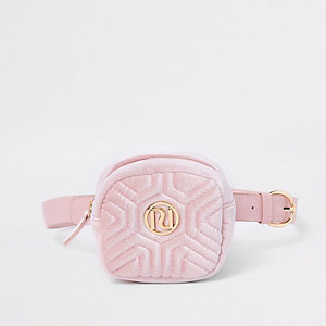 Girls pink velvet RI quilted bum bag