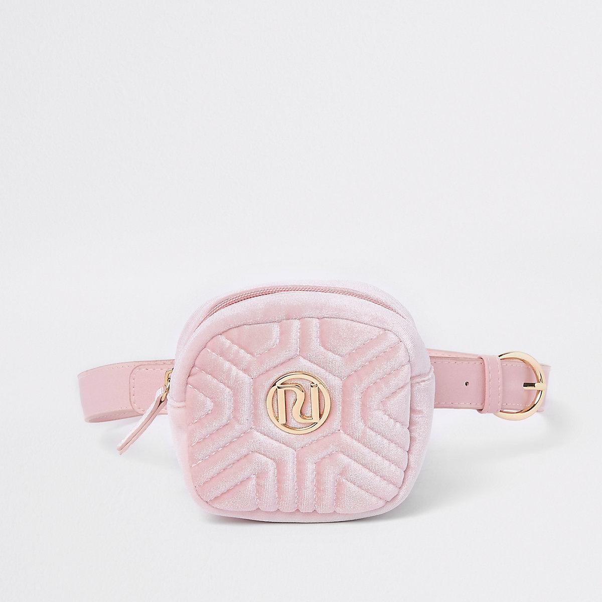 Girls pink velvet RI quilted bum bag