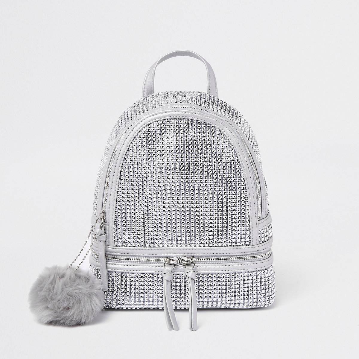 Silver embellished faux fur pom pom backpack