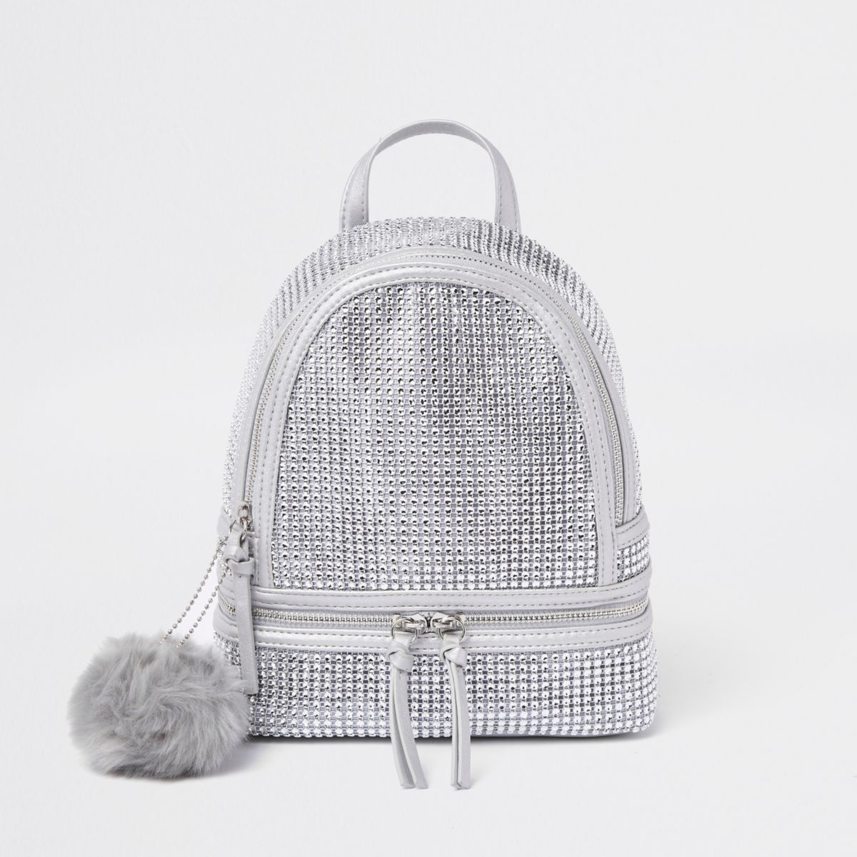 Silver rhinestone embellished backpack