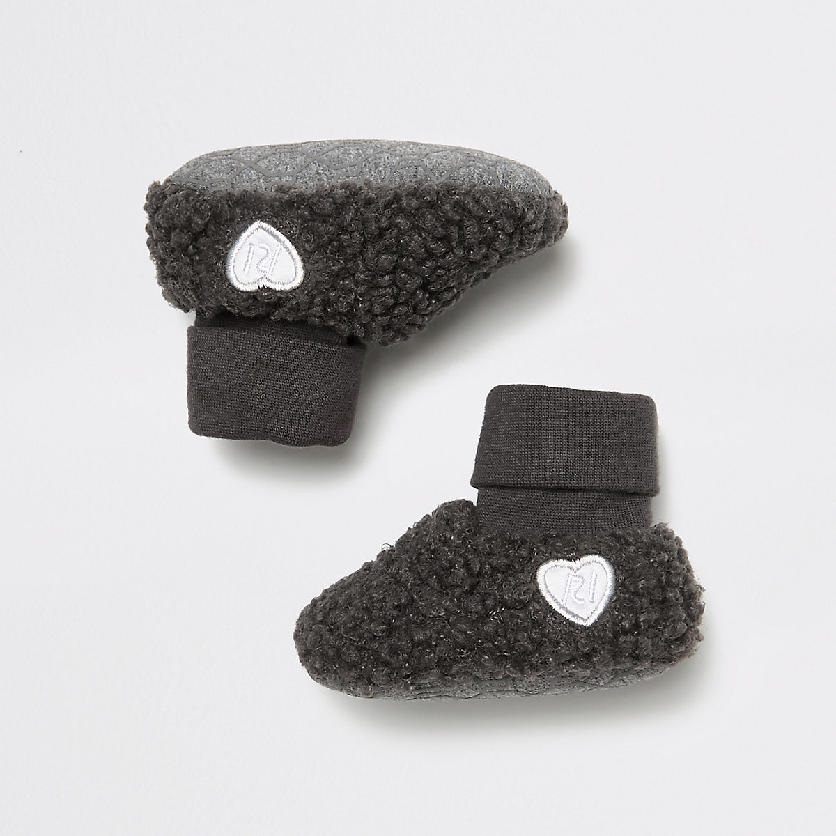 Baby grey marl fleece booties