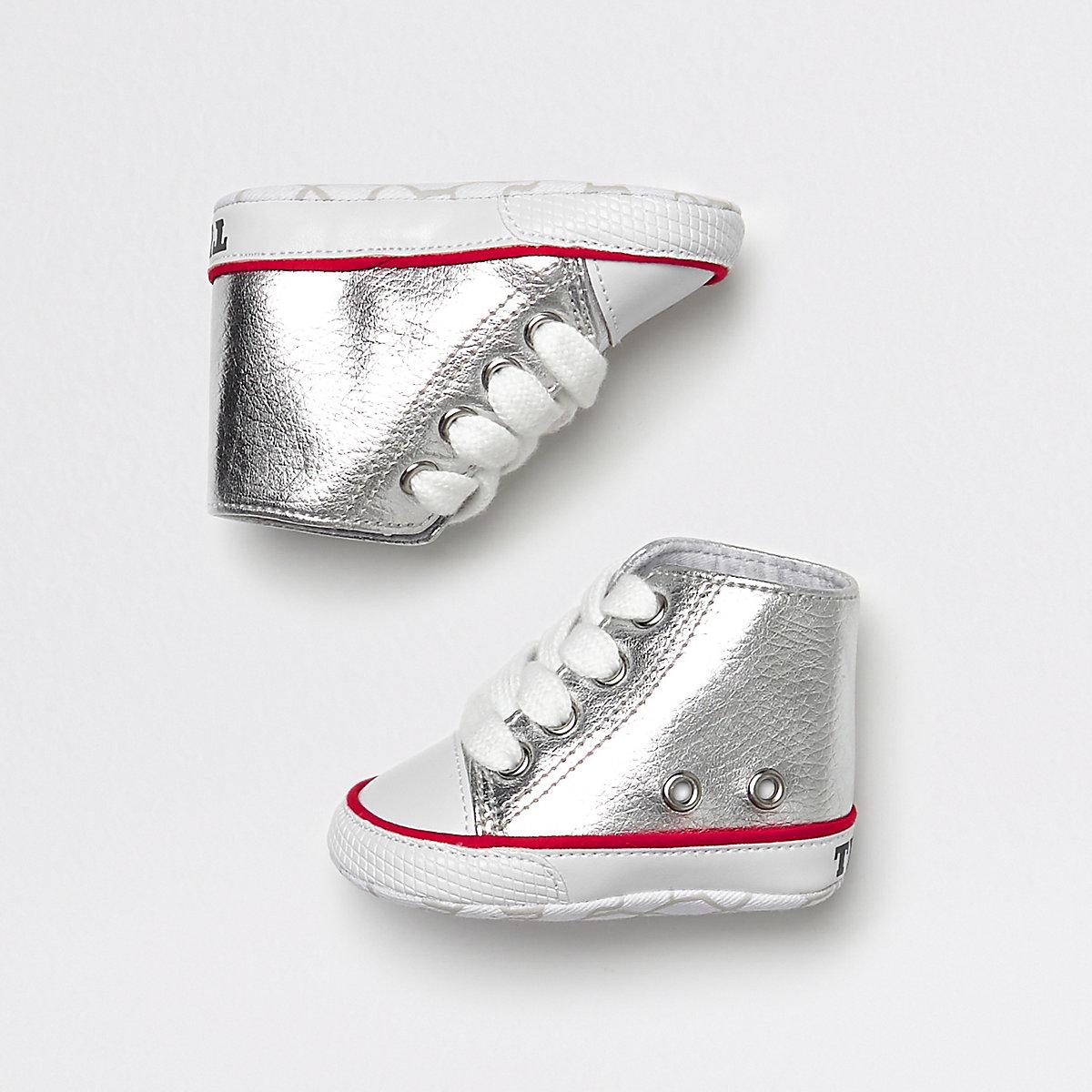 Baby silver metallic hi top sneakers