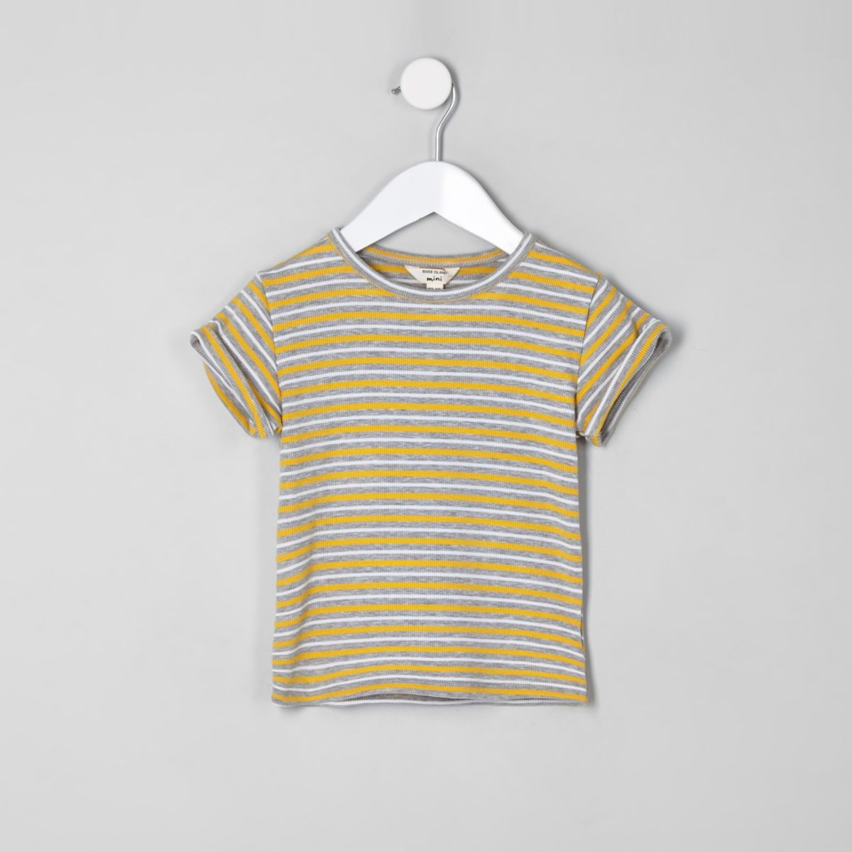 Mini girls yellow stripe top