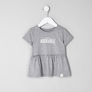 Mini girls grey 'adorable' peplum hem T-shirt