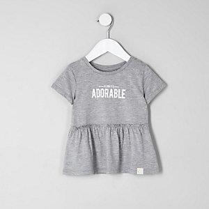 Mini - Grijs T-shirt met 'adorable'-print en peplum voor meisjes