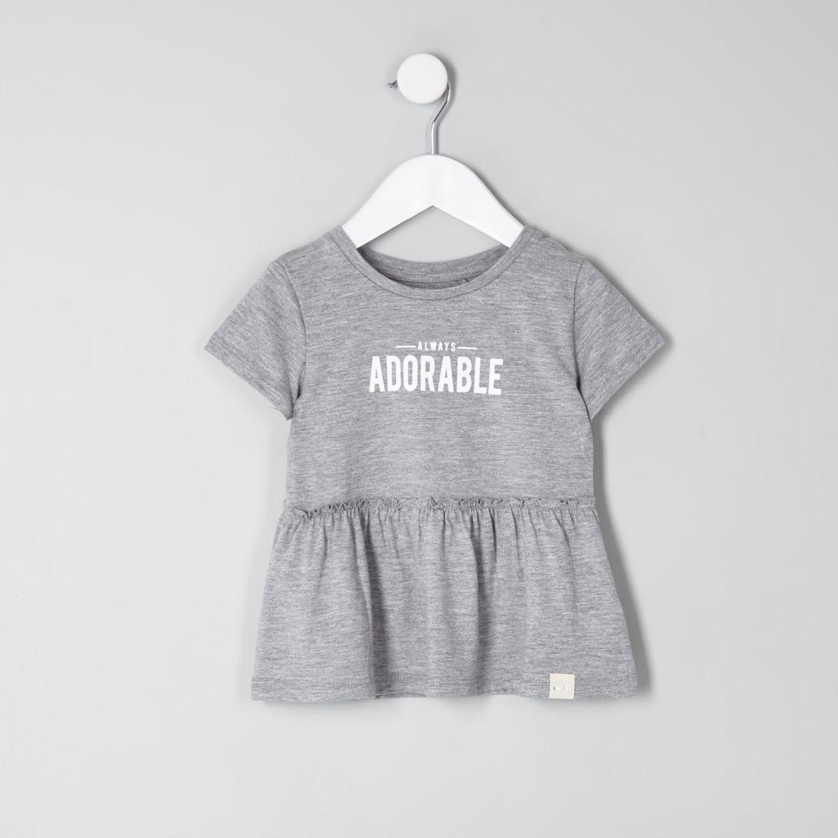 Mini girls grey 'adorable' peplum hem T-shirt