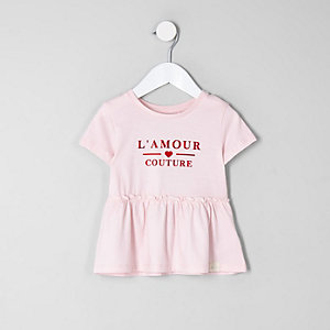 Mini girls pink 'l'amour' peplum hem T-shirt