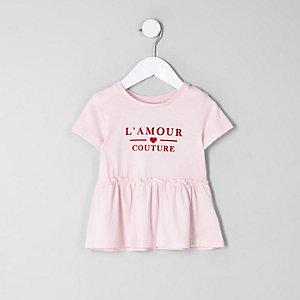 T-shirt «l'amour» rose à ourlet péplum mini fille