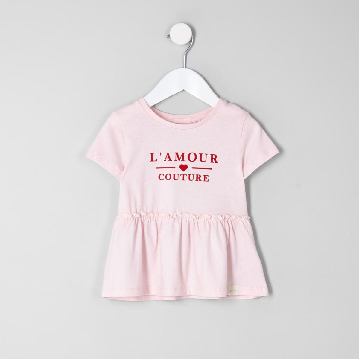Mini girls pink 'l'amour' peplum hem T-shirt