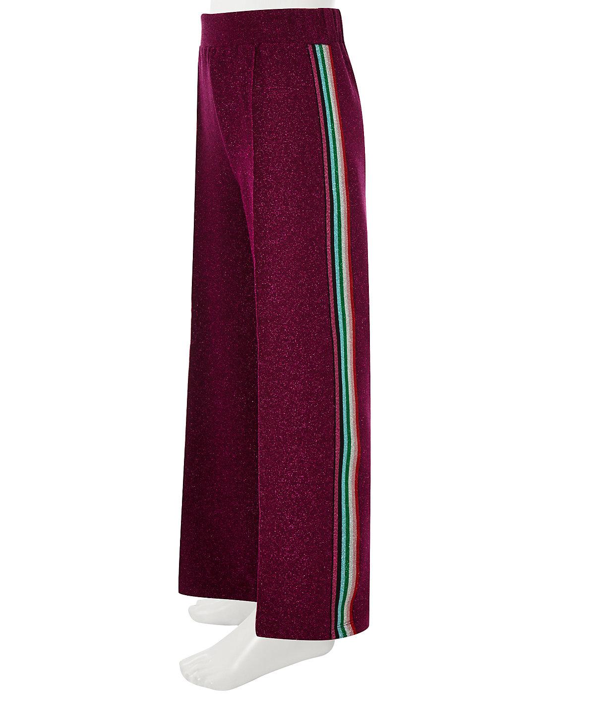 Girls pink wide leg glitter tape trousers