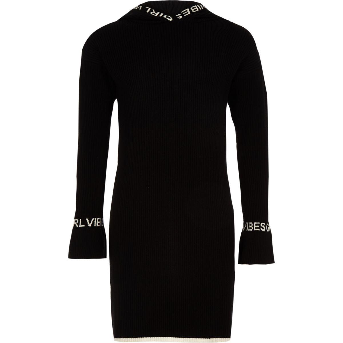 Girls black 'Girls vibe' hooded knit dress