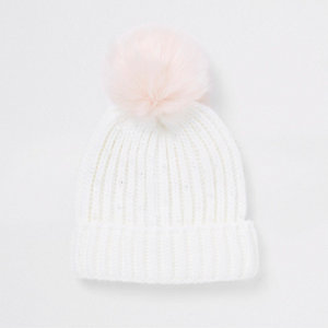 Girls cream embellished faux fur beanie hat